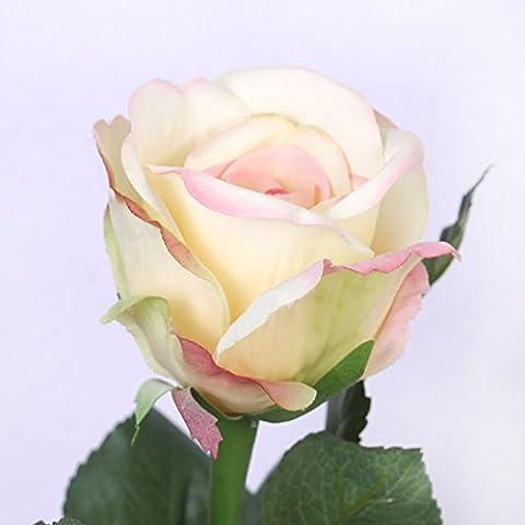 ShiQi Falso verdadero toque Flor 1 cabeza largos tallos blanco rosa Flores artificiales Casa jardín decoración de boda