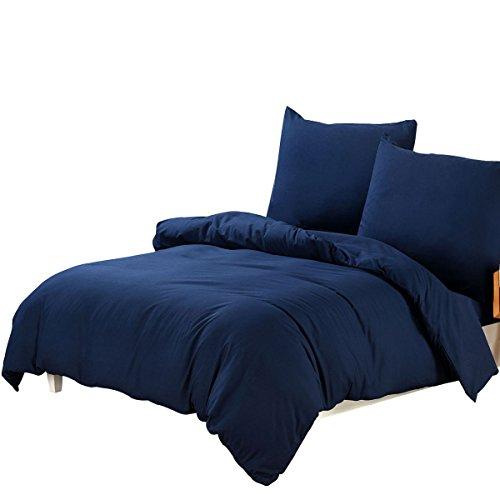 Bettwäsche 200 x 220 cm, Bettbezug Uni Dunkelblau Mikrofaser mit Reißverschluss, 3 tlg. Weiche und Knitterfreie Bettwäsche Garnitur, 200 x 220 cm, 2 x 80 x 80 cm , dunkelblau