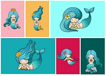 Mermaid Room Decor Set Of Six 11x17 Little Mermaid Decorations Perfect Mermaid Gifts For Girls Bathroom Or Bedroom Comes With Sticky Squares For Easy Installation Special Mermaid Wallpaper Amazon Co Uk