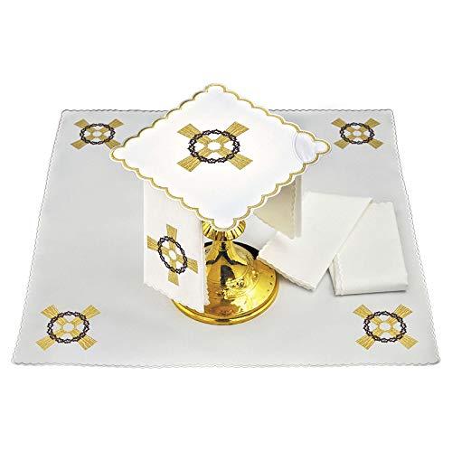 Holyart Kelchwäsche aus Leinen mit goldenen Kreuz und Dornenkrone (Kreuz Mit Dornenkrone)