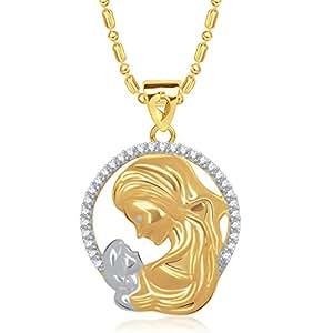 VK Jewels Mom's Love Gold Brass Alloy CZ American Diamond PendantFor Women VKP1405G