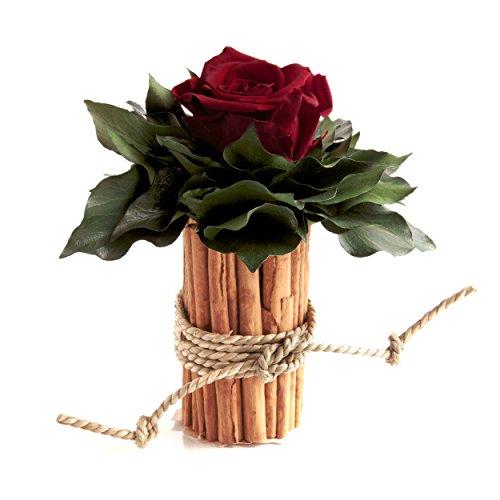 Blumengesteck mit Zimtbecher und 1 Rose konserviert haltbar 3 Jahre Rosengesteck / Blumengesteck / Landhaus / Weihnachten / Tisch von ROSEMARIE SCHULZ® Heidelberg (Dunkelrot)
