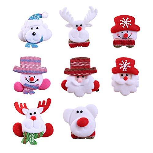 YeahiBaby 8 x Weihnachten Brosche LED Anstecknadel Pins Weihnachtsschmuck Weihnachtsdeko Kinder Erwachsene (Weihnachtsmann, Schneemann, Bär, Rentier)