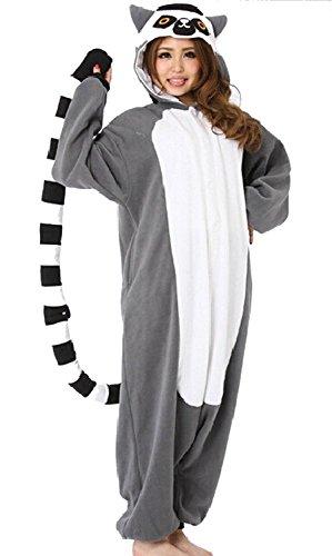 dressfan Unisex Tierpyjamas Erwachsene Kinder Lemur Cosplay (Kinder Lemur Kostüm)