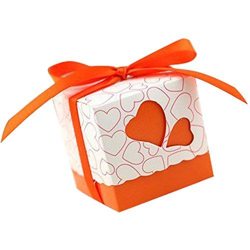 50pz bomboniere scatola cuore porta confetti segnaposto regalo con il nastro raso (arancione)