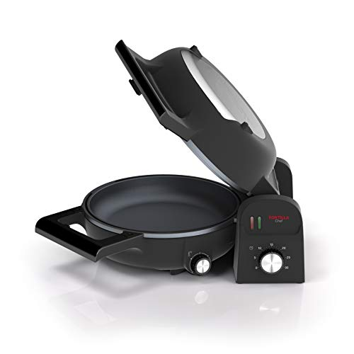Princess 118000 Tortilla Chef, Doble Superficie de Cocción, Vuelta y Vuelta, 1300 W, Acero Inoxidable, Negro