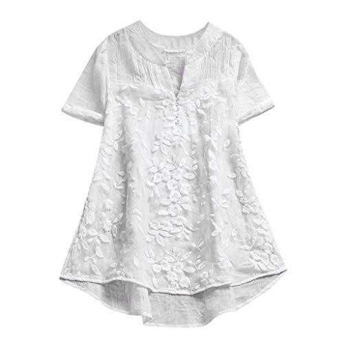 Longra T-Shirts Damen Vintage Boho Baumwoll Leinen Tunika Blusen mit Spitze Bluseshirt Hemdblusen Damen Sommer Tops Kurzarm T-Shirt Spitzenshirts Schöne Oberteile - Leinen Bluse Top