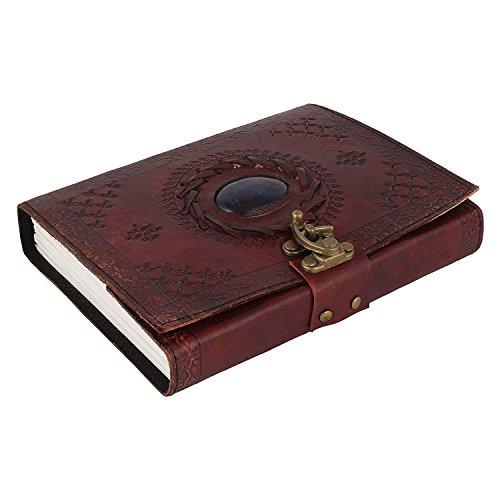 Leder-Notizbuch, genäht und mit Stein, für Männer/Frauen, mit Schnallen-Schließung