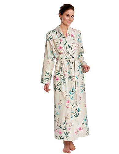 Feraud 3171282-10016 Women  039 s Sand Beige Floral Cotton Dressing Gown  Loungewear 6ef46da71