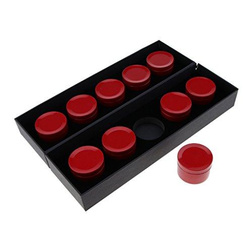 Homyl 10x Vide Boîtes en Aluminium de Haute Qualité Contenant à Thé, Bougie, Crème Cosmétique - Idéal pour Voyage - Rouge