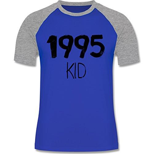 Shirtracer Geburtstag - 1995 Kid - Herren Baseball Shirt Royalblau/Grau meliert
