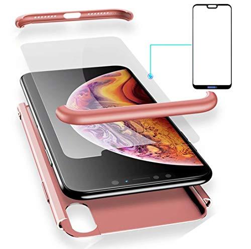 AILZH Huawei P20 Lite Hülle 360 Grad Schutzhülle PC Hartschale Anti-Schock HandyHülle Anti-Kratz Stoßfänger 360° Full-Cover Case Matte Schutzkasten+Gehärteter Glasfilm Rosen(5.84