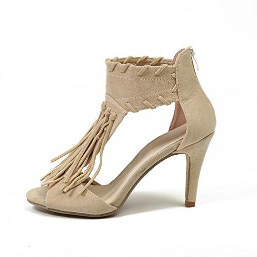 Damen Sandalen Stöckelschuhe 2018 Xinantime Rom Fisch Mund Platform Knöchel Quaste Zip Peep Toe High Heel Schuhe Frauen 10cm Khaki/Schwarz 35-43 (EU 38, Khaki)