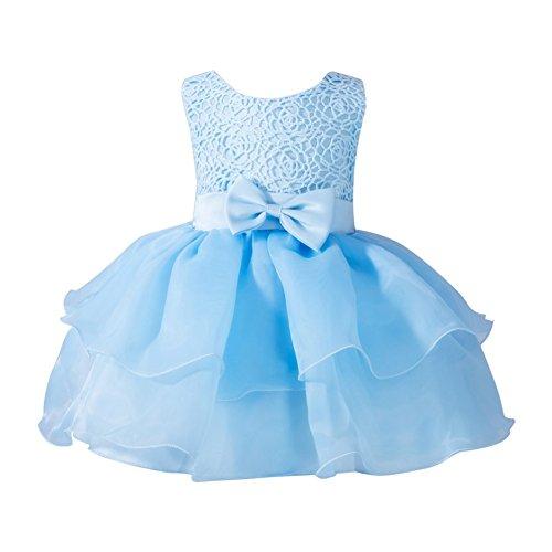 ESHOO kleine Blumen-Mädchen Bowknot-Prinzessin Kleid Partei-Festzug-Hochzeits-Brautjunfer-Ballettröckchen Kleid 0-24 M (54 16 Hals X)