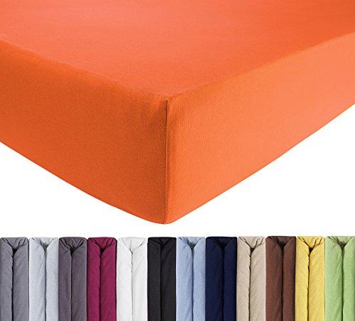 ENTSPANNO Jersey-Luxus-Spannbettlaken für Wasser- und Boxspringbett in Orange aus Baumwolle. Spannbetttuch mit Einlaufschutz, 180 x 200 | 200 x 200 | 200 x 220 cm, bis 40 cm hohe Matratzen