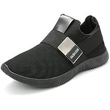 Zapatillas Running para Hombre, Gracosy Sneakers Calzado Deportivo Aire Libre Deportes Fitness Casual Sneakers Gimnasia Ligero Mujer Trenzado Zapatos Correr en Montaña y Asfalto Aire Negro 41 EU