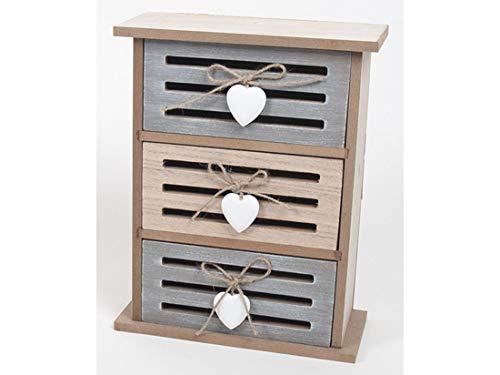 Mobiletto Shabby chic, Scatola in legno con 3 cassetti. Cofanetto Portagioie. Mini gioielleria