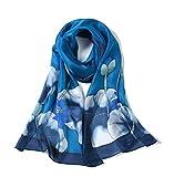 Invisible World Foulard Seta da Donna 100% Lunga Dipinta a Mano per Collo, Testa o Capelli - Fiori di Loto su Sfondo Blu
