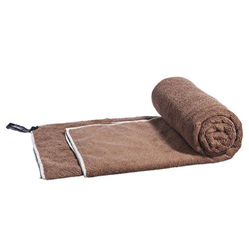 Antibakterielle Handtuch (LightDRY Mikrofaser Badetuch Strandtuch Reise-Handtuch Trekking, Saugfähig, leicht & antibakteriell, 160x80cm, Braun)