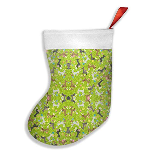 Sweet grape Christmas Stockings Green Easter Dachshund Stocking with White Polyester Cuff -
