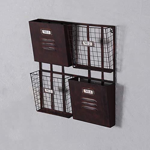 Wand-zeitschriftenhalter, Metall Prospekthalter Zeitung-Regale Inhaber Retro Industrielle Wind Eisen Hängen Küche Badezimmer Lagerung-Rack-schwarz 51x7.5x54cm(20x3x21inch)
