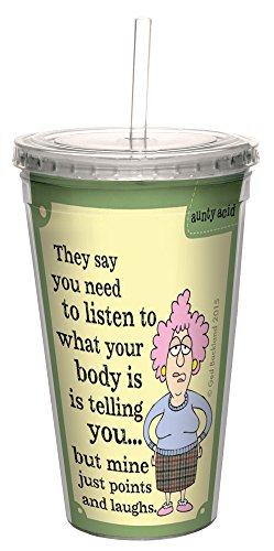 Baumfreie Grüße 'Aunty Acid Punkte und lacht doppelwandige Cool Tasse mit wiederverwendbarer Strohhalm, Acryl, mehrfarbig, 473ml
