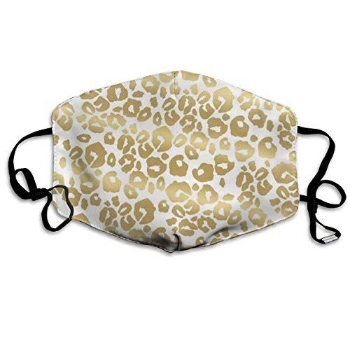 Preisvergleich Produktbild Nicegift Gesichtsmasken,  Gepardenmuster,  goldener Leoparden-Ohrschlaufe,  verstellbar,  elastischer Riemen für Reisen,  Keime,  Staubdicht,  Gesichts- und Nasenschutz,  halbes Gesicht,  Mundschutz