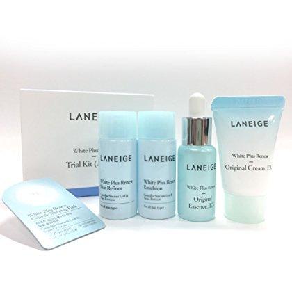 Laneige Korean Cosmetics White Plus Re Trial Kit (5 Items) -Skin Refiner/Emulsion/Original Essence-Ex/Original Cream-Ex/Capsule Sleeping