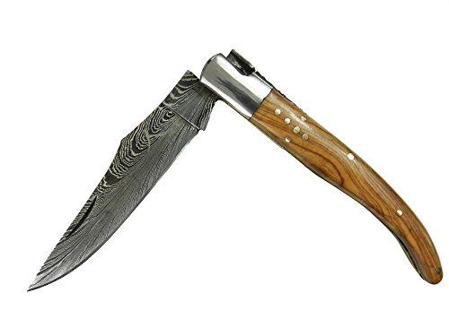Trophy-Art Laguiole Couteau, bois d'olivier, Ressort de couteau damassé, 256 couches, Couteau pliant, couteau de poche
