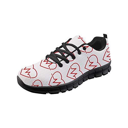 HUGS IDEA EKG-Muster Krankenschwester Leichtes Jogging-Training für Damen Laufschuhe Athletic Walking Tennis Sneakers-EU Größe 41