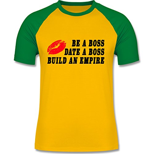 Statement Shirts - KISS - BE A BOSS - DATE A BOSS - BUILD AN EMPIRE - zweifarbiges Baseballshirt für Männer Gelb/Grün