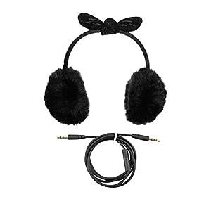 HEMOBLLO musikalische Ohrenschützer Kopfhörer flauschige Kunstpelz Ohrenwärmer mit bowknot Kopfhörer mit Mikrofon (schwarz)