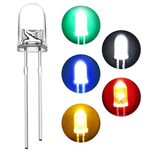 DiCUNO 450pcs(5 Farben x 90pcs) 5mm LED Dioden Leuchtdioden Rund Farbe Sortiert Weiß/Rot/Gelb/Grün/Blau Clare Linse Kit Box (Dioden Rote)