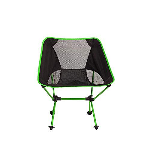 ZJQ Outdoor Camping Faltstuhl Portable Moon Chair Ultra Light Aluminum Fishing Chair Leisure Sketch Chair,Green (Outdoor-schaukelstuhl Klappstuhl)
