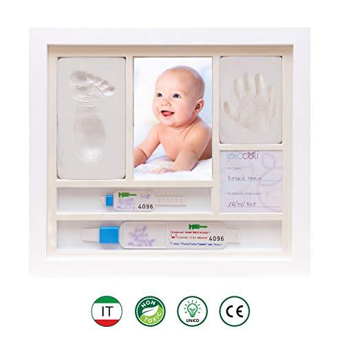 Ipiccoli | cornice per impronte bambino e neonato, regalo battesimo e nascita bimbo, kit completo con argilla, porta bracciali di nascita