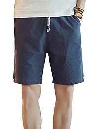 598942ef97 Hombre Chinos Pantalones Cortos De Playa Deportivos Pantalon Lino Cargo  Bermudas Cintura Elástica Shorts Tallas Grandes