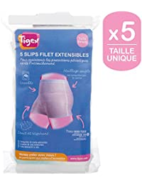 Tigex Slip Jetable Maternité, Filet Extensibles, Lavable, Taille Unique, Blanc, Lot de 5