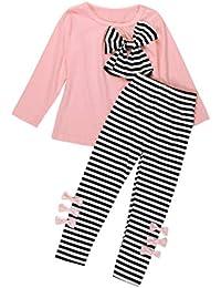 K-youth Ropa para Chicas, Camiseta de Manga Larga con Cuello Redondo y Pantalones de Rayas para niñas Ropa Conjunto