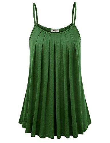 DJT Femme Vest T-Shirt Blouse sans Manches Camisole Haut Été Casual Armée verte