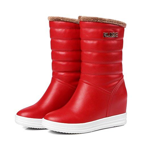 VogueZone009 Donna Tirare Punta Tonda Cuneo Luccichio Bassa Altezza Stivali con Metallo Rosso