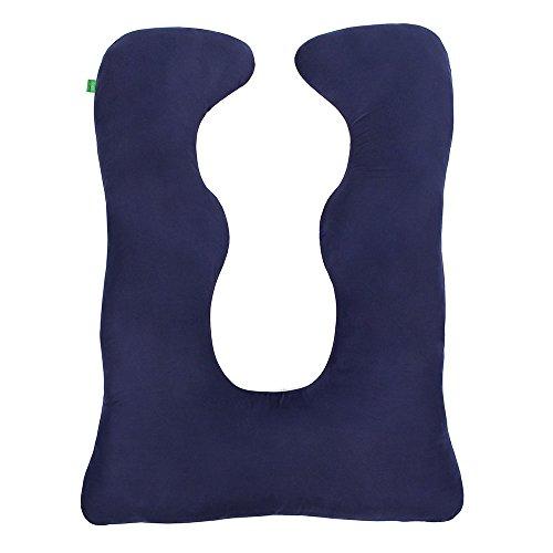 LULANDO Schwangerschaftskissen Lagerungskissen Seitenschläferkissen Körperkissen U-Form (130x100 cm) zum Schlafen, Ausruhen und Stillen. Farbe: Navy Blue - Microfibre