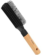 Vega Flat Brush with Wooden and Black Colored Handle with Black Brush Colored Head