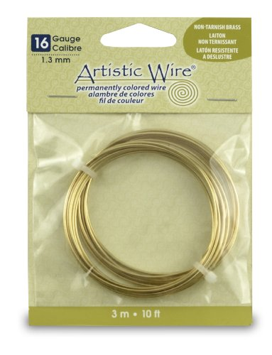 Beadalon Draht Artistic Wire-Non-Tarnish Brass 16 Gauge, 10 (Messing 16-gauge Draht)