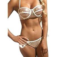 Cebbay Womens Bikini Set, Sexy Sequin Bling Bling Halter Strips Bandage Swimwear Beachwear