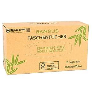 Pandoo 100% Bambus Taschentücher – trocken – Holzfreies Taschentuch in plastikfreier Verpackung. 100 Blatt – 3-lagig. Perfekt für jede Nase.