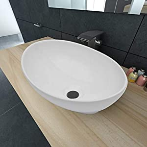 FESTNIGHT Lavabo sobre Encimera Modernos Lavabo de Cerámica Ovalado Blanco 40×33 cm