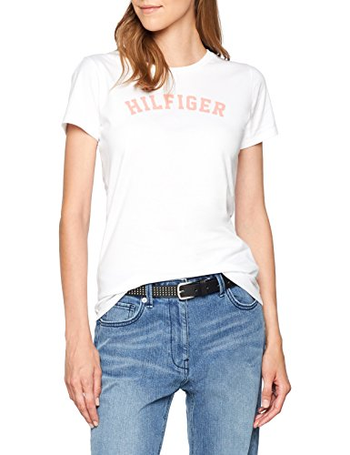 Tommy hilfiger ss tee print, top pigiama donna, bianco (white/burnt coral 131), small
