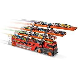 Mattel Hot Wheels-Megacamión, camión transporte coches de juguete para niños +3 años GHR48, multicolor