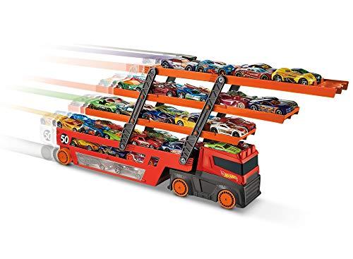 Mattel Hot Wheels-Megacamión, camión transporte coches de juguete para niños +3 años, multicolor GHR48