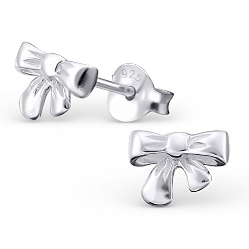 Bungsa Schleife .925 Sterling Silber Ohrstecker Ribbon Bow Tie (Ohrringe Echtschmuck Studs Ohrschmuck Damen Frauen Herren)
